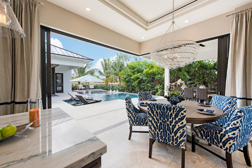 View from the kitchen into the outdoor living space.